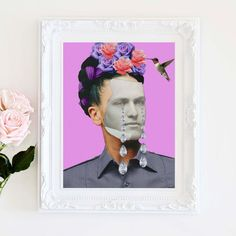 cool edgy art collage conceptual surrealist style Male tears print  Frida Kahlo Feminist by ArtisticSideOfLife