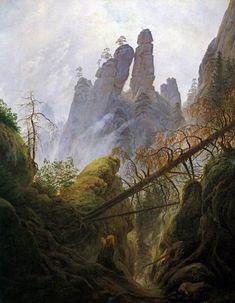 Caspar David Friedrich, Paesggio roccioso nell'Elbsandsteingebirge, Felsenlandschaft im Elbsandsteingebirge, 1822 et 1823, Olio su tela, 94 × 74, Vienna, Galerie autrichienne Belvédère