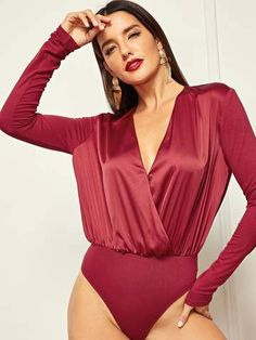 402deccc5e Plunging Neck Surplice Wrap Bodysuit
