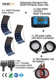 Solarparts Standard Kits 300W DIY RV/Boat Kits Solar System 100W flexible solar panel+controller+cable outdoor light led module.