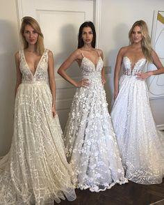 `New York Bridal Fashion Week Show fall 2016 new collection wedding dress designer bridal gown catwalk runway berta bridal v neckline a-line
