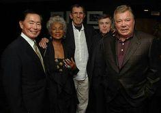 The original crew from the Enterprise from left to right: George Takei (Mr. Sulu), Nichelle Nichols (Uhura), Leonardo Nimoy (Mr. Spock), Walter Koenig (Pavel Chekov), William Shatner (Captain James T. Kirk)