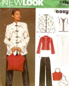 Asian style jacket pants top purse sewing pattern New Look 6435 Sz 10 to 22