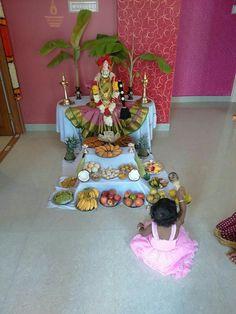 Diwali Decorations, Festival Decorations, Flower Decorations, Silver Pooja Items, Indian Decoration, Pooja Mandir, Pooja Room Door Design, Padi Kolam, Rangoli Designs With Dots