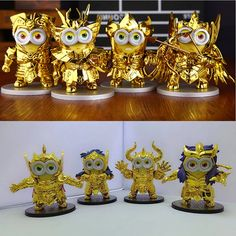 52.80$  Buy now - http://ali2w5.worldwells.pw/go.php?t=32739415022 - Anime Minions Cos Toys Action Figures PVC Figurine Gold Saints Knights of the Zodiac Despicable Me Model Free Shipping