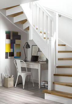 Spiral staircase but its… Staircase Space Creative Ideas Innovative Concepts. Spiral staircase but its technically not! Space Saving Staircase, Staircase Storage, Stair Storage, Staircase Design, Home Office Setup, Office Nook, Corner Office, Desk Under Stairs, Open Stairs