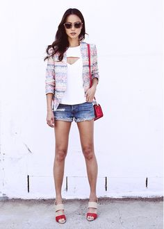The adorable @Jamie Chung/ spotted in our tangerine Hana Sandal on her blog What the Chung? Shop this style at http://shop.coyenokes.com/hana-sandal-tangerine-suede-natural-leather-gold-metallic/