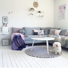 A chic living room decoration with a light blue sofa and cushions. Also there has a wall art and a floor matt on wooden floor. A beautiful white dog seating on the floor matt. It's a modern and classic living room decoration idea. http://www.urbanroad.com.au/