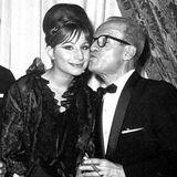 Elia Kazan kisses Streisand at 1963 Cue Awards