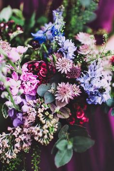 #blue #bouquet #flowers #green #mauve #nature #pink #purple