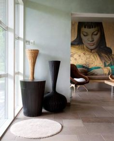Inside the home of Wayne Hemingway ... An enlarged version of Vladimir Tretchikoff's Lady adorns one wall .. taken from Hemingway's own collection of images on Surface View ... www.surfaceview.co.uk
