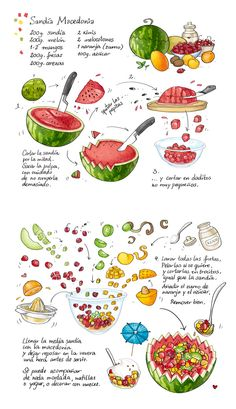 Cartoon Cooking: Macedonia de sandía Sketch Menu, Sketch Note, Food Sketch, Cartoon Recipe, Recipe Drawing, Food Doodles, Watercolor Food, Food Painting, Food Journal
