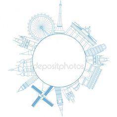 Ilustración de vector de monumentos famosos viajes de Europa Vector De Stock