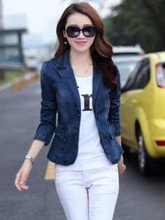 Slim Fit Casual Lapel One Button Denim Women's Blazer - Casaca Jeans - Denim Blazer Outfits For Women, Jean Jacket Outfits, Blazers For Women, Jackets For Women, Clothes For Women, Denim Blazer, Denim Outfit, Sleevless Blazer, Casual Blazer