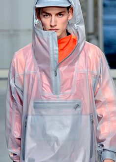 Issey Miyake - Clear fabric -  see through to orange.