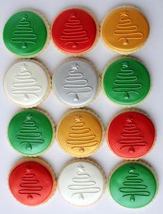 Ronde kerstboom koekjes