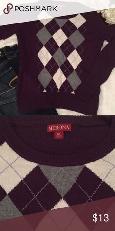 Purple argile sweater Purple grey and white argile sweater. Only worn a few times. In great condition!   🚫TRADES 🚫LOWBALL OFFERS  💸PLEASE REMEMBER POSH TAKES 20% ⭐️ BUNDLE TO SAVE!! Merona Sweaters