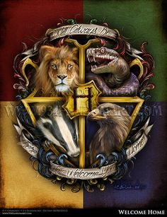 Welcome Home - inspired by the Hogwarts School Crest Harry Potter Series.Hogwarts School of Witchcraft and Wizardry, is the British bording school that Harry Po Harry Potter World, Harry Potter Love, Harry Potter Universal, Harry Potter Fandom, Harry Potter Hogwarts, Estilo Harry Potter, Mundo Harry Potter, Hogwarts Crest, Hogwarts Houses