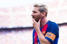 Lionel Messi of FC Barcelona looks on during the La Liga match between FC Barcelona and Real Betis Balompie at Camp Nou on August 20, 2016 in Barcelona, Catalonia.