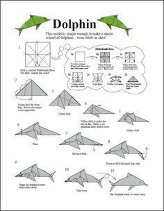 Asociacion Mexicana de Papiroflexia: Delfines origami dolphin