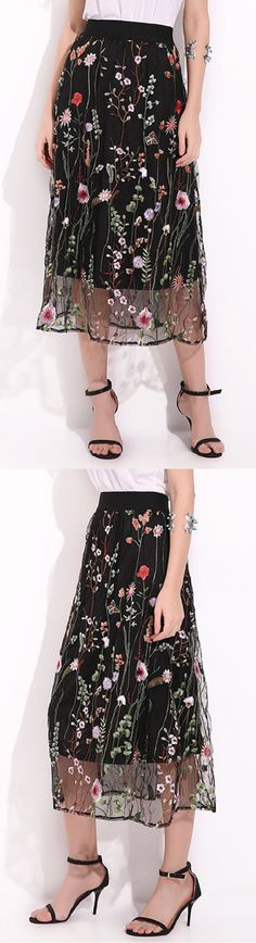 US$ 23.46 Elegant Women Flower Embroidery Elastic Waist Chiffon Skirt