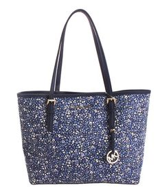 901f6e201b01 Look what I found on #zulily! Navy Mini Floral Leather Tote #zulilyfinds  Purse
