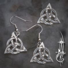 The Triquetra Collection includes earrings and matching pendant of the classic three-in-one knot: a woven circle adding to the trinity, the Circle of Love unifies all.