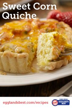 Use fresh corn on the cob when it's in season for this tasty dish. #Egglandsbest #Quiche #Recipe #Vegetarian