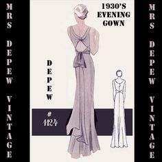 1930's 1124 Evening Gown/ Bridal Pattern | Mrs Depew Vintage