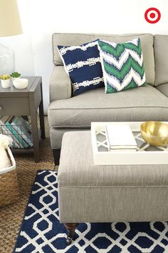 Pull your living room together with simple yet bold home decor accents like the Threshold Lattice Design Tray and the Threshold Decorative Square & Zig Zag Pillows.