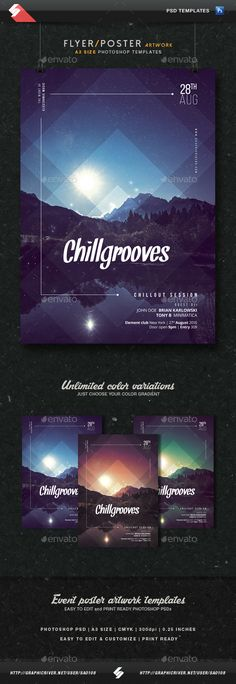 Mindblowing  Chill Grooves - Chillout Session Flyer Template A3  • Only available here ➝ http://graphicriver.net/item/chill-grooves-chillout-session-flyer-template-a3/16337033?ref=pxcr