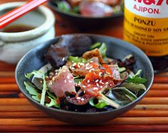Seared ahi tuna salad! You'll have to fiddle with the Ponzu sauce if you cant have soy (fortunately the missus aint that sensitive) - maybe make your own with tamari.
