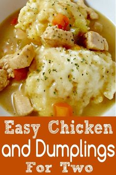 Easy Chicken and Dumplings Recipe for Two is super easy, made in one pot, full o. - Fl dinners - Dinner ideas - Easy Chicken and Dumplings Recipe for Two is super easy made in one pot full o Fl dinners - Easy Dinner Recipes, New Recipes, Cooking Recipes, Easy Recipes For Two, Crockpot Recipes For Two, Chicken Recipes For Two, Family Recipes, Dinner Recipes For Two On A Budget, Recipes With Celery