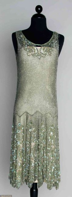 BEADED & SEQUINED DANCE DRESS, Seafoam green, silver bugle bead lattice pattern w/ irridescent sequined roses at neckline & hem, B H L (net fragile w/ holes in shoulder strap & chest areas) fair. 1920 Style, Style Année 20, Flapper Style, Gatsby Style, 1920s Flapper, 20s Fashion, Art Deco Fashion, Fashion History, Vintage Fashion