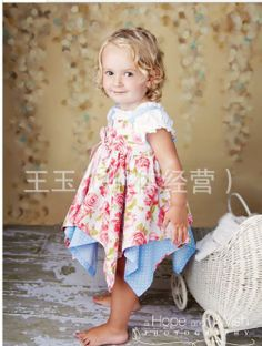 Wholesale T Shirt - Buy Girl Flower Blue Dots Dress Cutest Baby Dress Set Baby Clothes T-shirt + Dress, $13.59 | DHgate