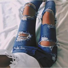 Fashion Edgy Distressed Ripped Holes Pants Trousers Jeans – MegaIntl