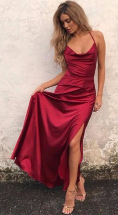 sexy red long evening dress wedding reception dress, red long evening dress with slit