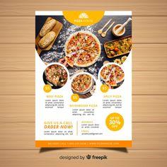 Modern pizza restaurant flyer template F...   Free Vector #Freepik #freevector #freebrochure #freeflyer #freefood #freemenu Pizza Restaurant, Restaurant Poster, Pizzeria, Restaurant Menu Design, Food Poster Design, Food Design, Comida Delivery, Pizza Flyer, Brochure Food