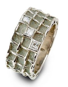 Concrete Ring by Patrice Fabre - Concrete, white gold and diamonds http://www.patrice-fabre.com/