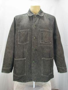 VTG Oshkosh Classic Engineer Work Wear Black Denim Jacket Size L | eBay