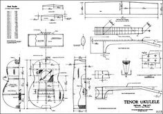 Tenor Ukulele Plan is a full working drawing. Both Spanish Style and Box Style are shown with detailed dimensions and Information.