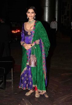 Sonam Kapoor in Blue Anarkali Suit by Anuradha Vakil - Hot Cleavage Pics