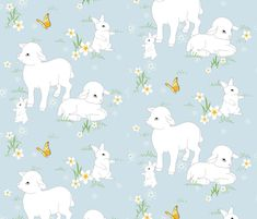 Springtime  Lambs Bunnys - Blue fabric by spicetree on Spoonflower - custom fabric