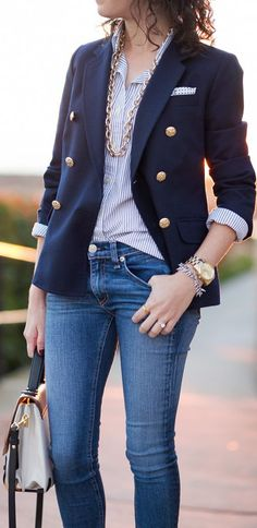 Womens Blazer Gold Buttons Fashion Ql