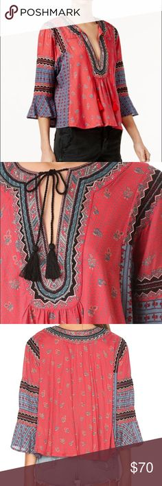 Free People But I Like It Peasant Top Absolutely gorgeous mixed-print Free People blouse with an exotic look, accented with embroidered trim at the split neckline. Long sleeves and flared cuffs. Brand new size XS Free People Tops Blouses
