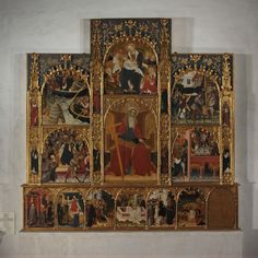 """""""Retable with Scenes from the Life of Saint Andrew"""" Artist: Attributed to the Master of Roussillon (Spanish, active 1385–1428) Date: ca. 1420–30 Geography: Made in Catalonia, Spain Culture: Catalan Medium: Tempera and gilding on panel"""