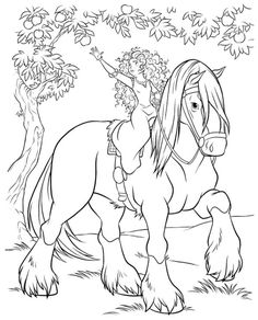 coloring page Brave - Merida and Angus
