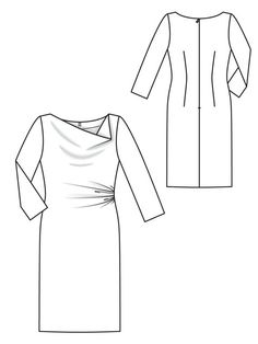 Burda match for DIANE VON FURSTENBERG Julissa dress. Deepen cowl, add fold in shoulder opposite gathers. Not an exact match--the Julissa has a waist seam with a fairly hideous elastic casing in back. Clothing Patterns, Dress Patterns, Sewing Patterns, Sewing Tutorials, Sewing Clothes, Diy Clothes, Bias Cut Dress, Make Your Own Clothes, Fashion Design Sketches