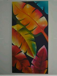 Tropical Art, Leaf Art, Acrylic Art, Fabric Painting, Painting Inspiration, Flower Art, Canvas Wall Art, Art Drawings, Artwork