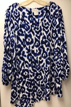 ba95a05bf4ac0 Chicos Travelers Tunic V Neck Top Womens 3 XL 16 Blouse Asymetrical Rayon.  Stylish Plus Size ...